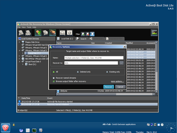 Active@ File Recovery started from the Active@ Boot Disk.Screenshot